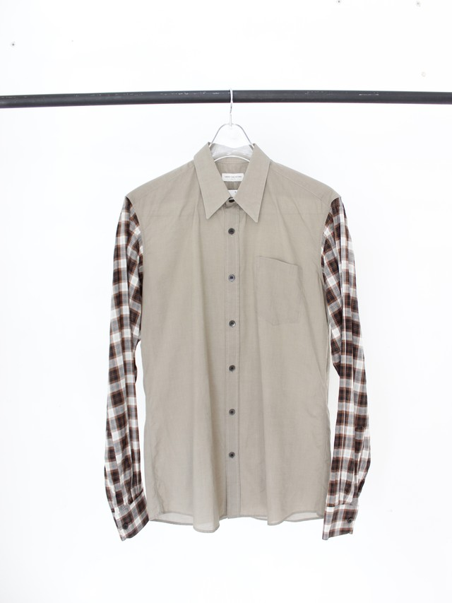 Used DRIES VAN NOTEN check sleeve shirt