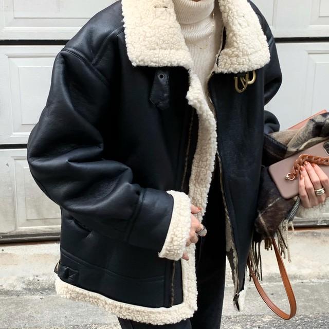 PUレザー 合皮 ジップアップ ジャケット ショート丈 コート アウター 裏ボア ゆったり ルーズ メンズライク シンプル カジュアル トレンド 秋 冬 TP1901