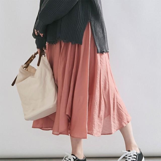 【Aラインシルエットが可愛らしさを演出♡】ボリュームチュールロングスカート5カラー