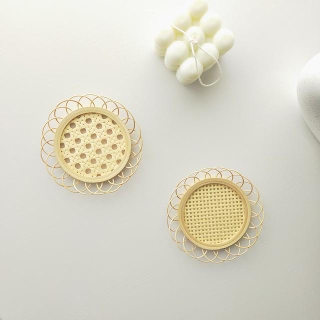 【送料無料】即納 竹 編み コースター|かごめ編み&格子編み 韓国インテリア 韓国雑貨