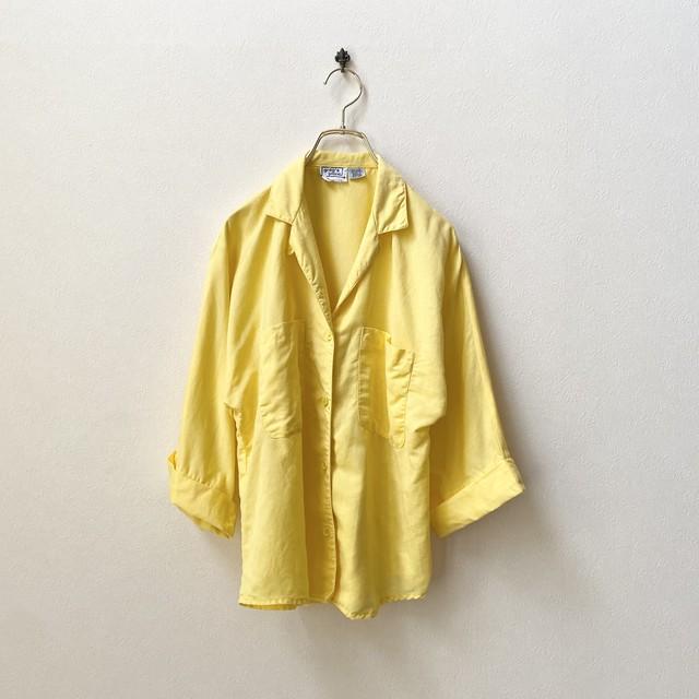 レディース 80年代 ROMANIA製 ラグランスリーブ 開襟 7分袖シャツ アメリカ 古着 リネンコットン イエロー 日本M
