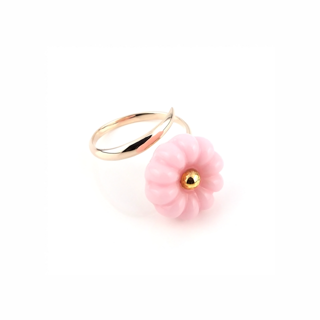 "k10_flower glass_ring ""bubble gum"""