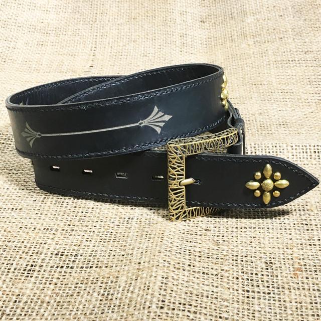 【Yami】Hand made Spots metal leather belt 40mm (ハンドメイドスポッツ レザーベルト)