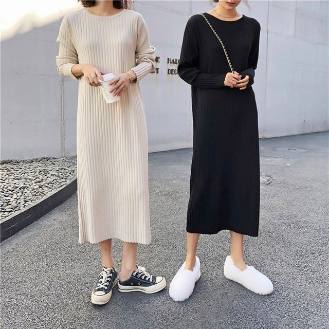 シンプル大人LADYに♪ラウンドネックニットワンピース / Women's Slim Pleated Dress Retro French Long Sweater Dress (DCT-577721179648)