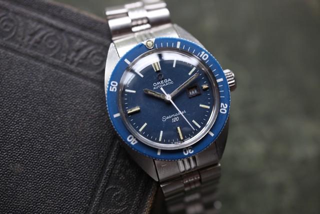 "【OMEGA】1970's シーマスター120 ボーイズサイズ ""ブルー"" デイト自動巻き  OH / vintagewatch / seamaster 120 / Blue /Boys"