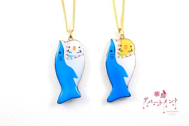 【サメに食べられてるネックレス】セキセイインコ