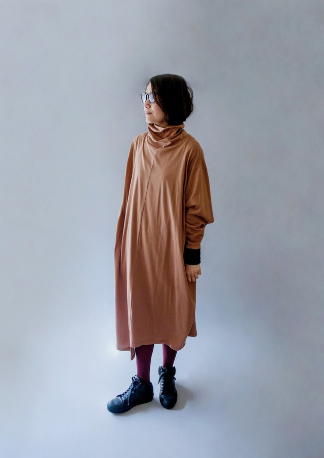 《michirico 2019AW》High neck long one piece / brown / S(womens)