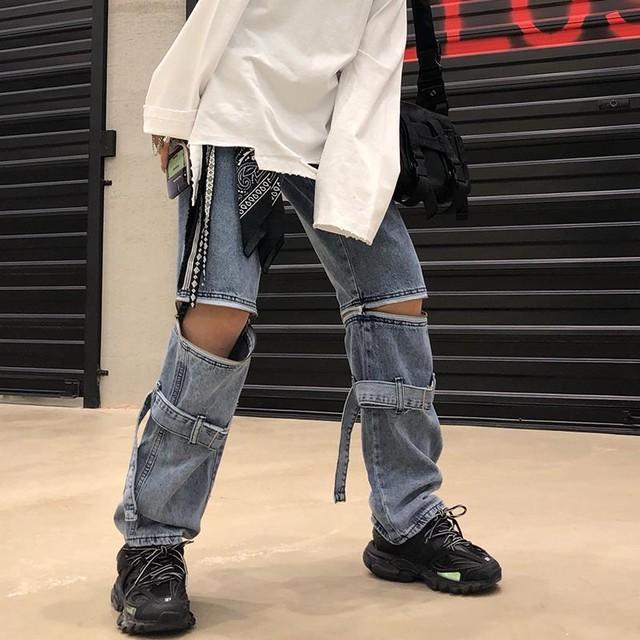 【ボトムス】流行りファッション透かし彫りレギュラー丈デニムパンツ28115717
