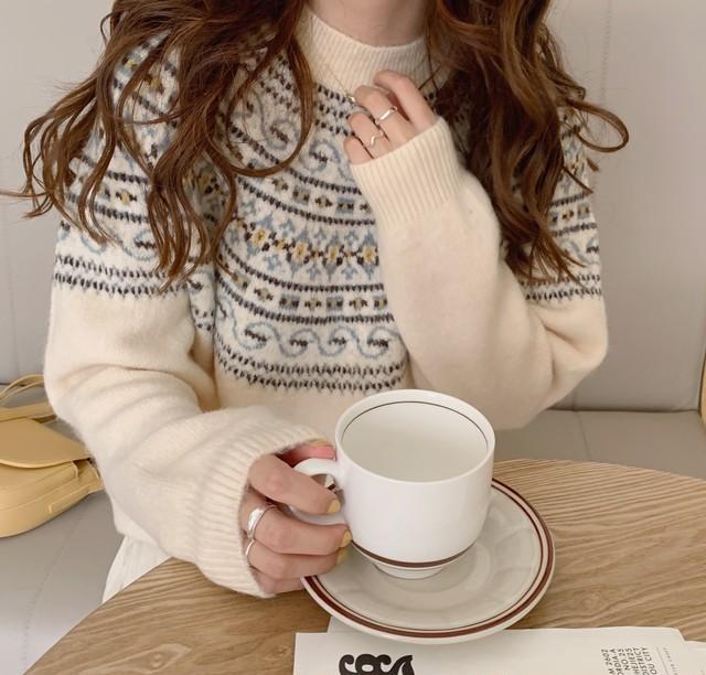〈カフェシリーズ〉バニラアイスのノルディック柄セーター【vanilla ice Nordic sweater】
