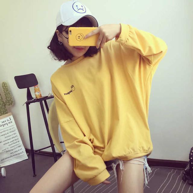 【tops】長袖ドルマンスリーブ刺繍プルオーバーラウンドネックTシャツ