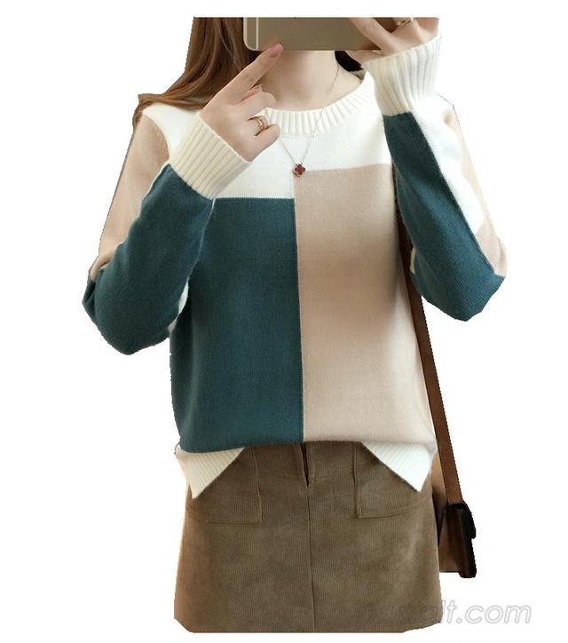【トップス】配色ファッション切り替え長袖セーター24375491