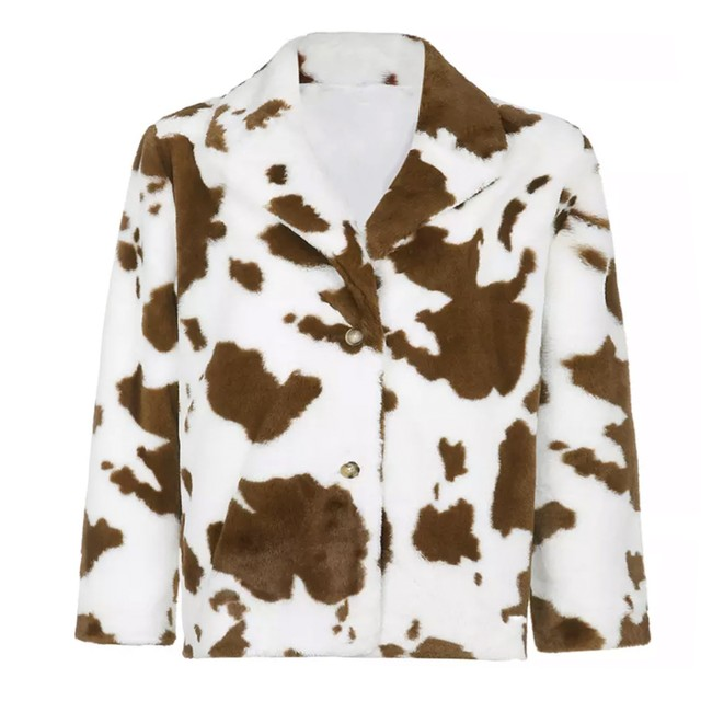 【Cat & Parfum】Holstein Eco Fur Blouson Jacket