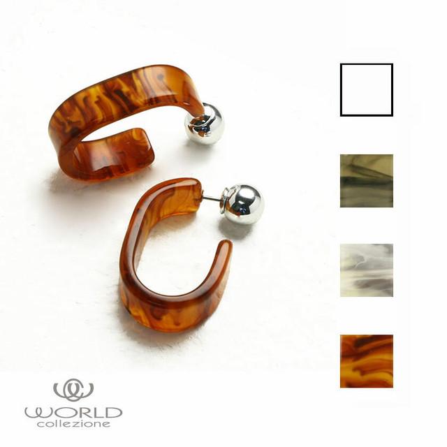 【worcolle】クリア&マーブルの楕円デザインピアス(No.132608-09-10-11)