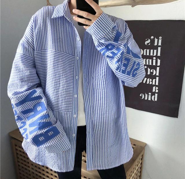 【トレンド】BNRYデザインビックサイズシャツ 2カラー