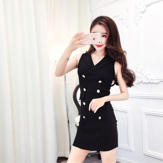 【dress】ファッション韓流気質アップスリム着痩せノースリーブセクシーワンピース