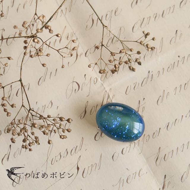 チェコ製ガラス《ドラゴンブレス》の帯留/オーバル◎ブルー
