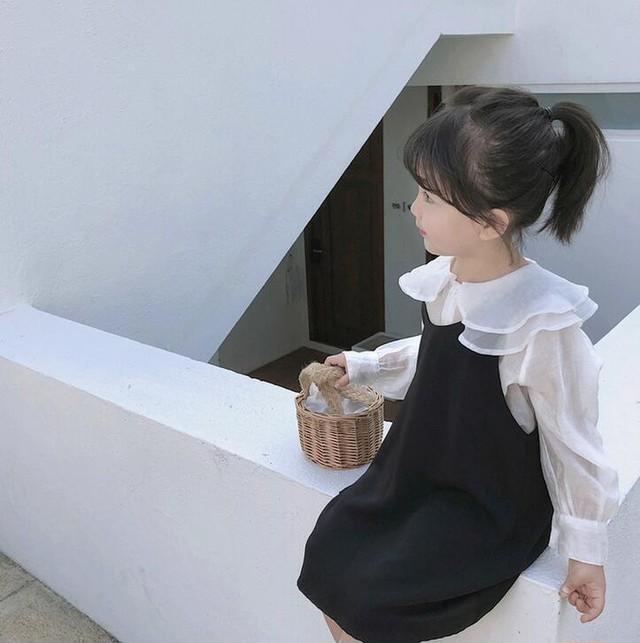 【可愛い韓国子供服】 6048 モノクロ ワンピース 女の子 お呼ばれ 送料無料