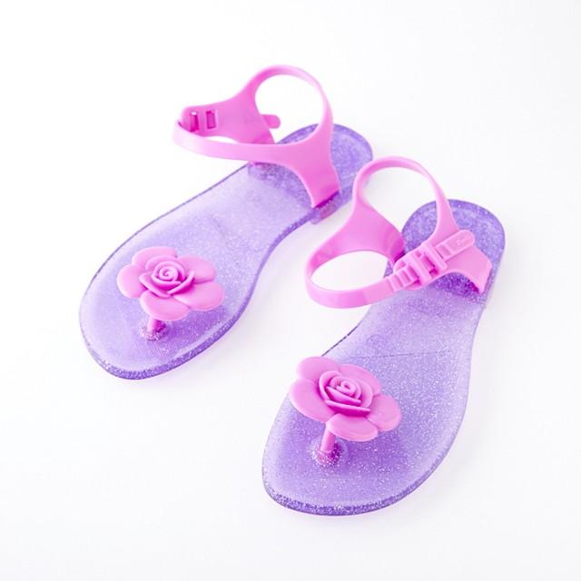 Zhoelala(シューララ)サンダル♡ピンクフラワー×紫 F-001
