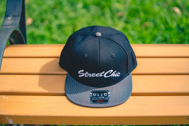 Flat visor cap [Black/Charcoal] Leaves - StreetChic