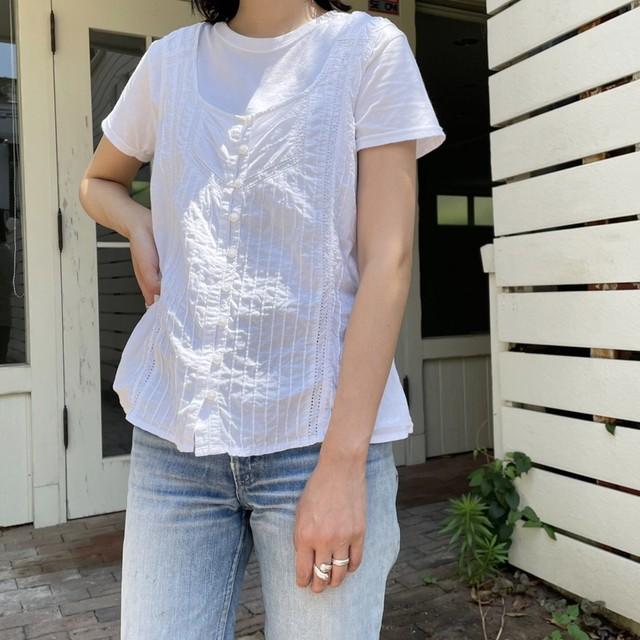 """USED """"n/s cotton  blouse / ノースリーブレースブラウス """""""
