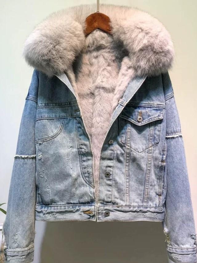 リアルフォックスデニムジャケット リアルフォックス デニムジャケット 韓国ファッション