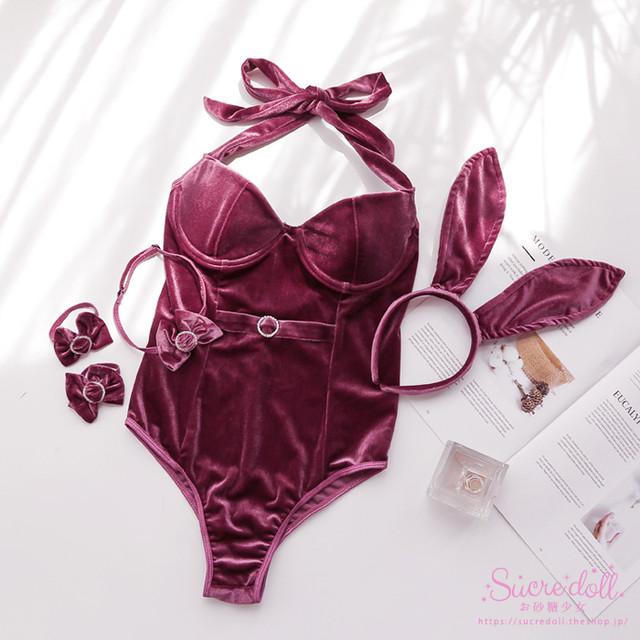 Velor wine rabbit set