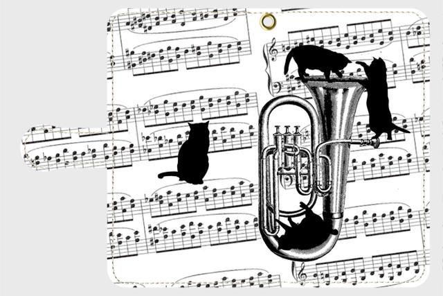 (Android用)チューバと黒猫の手帳型スマホケース