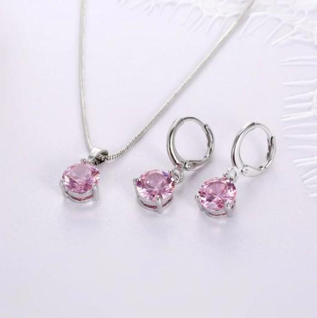 Iparam 8色 ジュエリーセット 女性 ラウンド キュービックジルコン 低刺激性 銅 ネックレス/イヤリング SKU-IPA-1780-pink