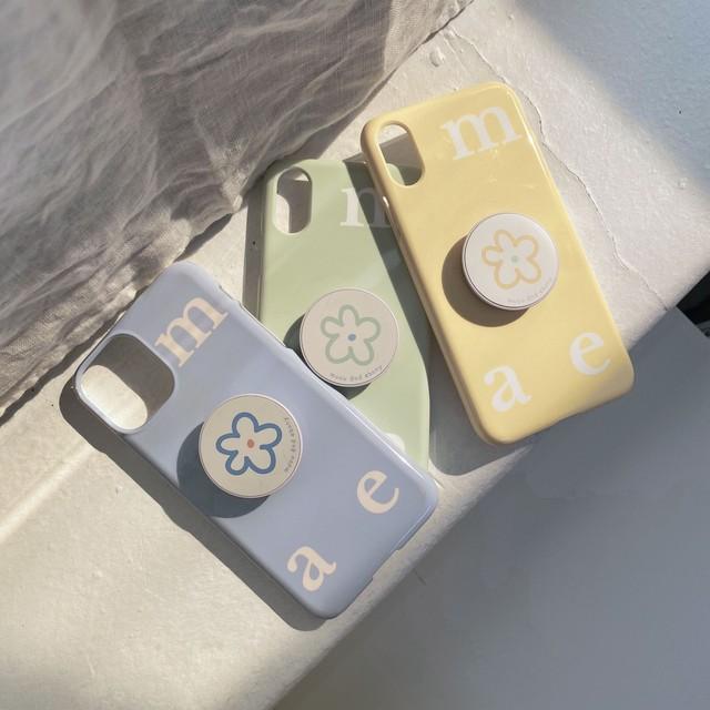 [mucu&ebony] ロゴ ソフト iPhoneケース& flower スマホグリップ セット (Lemon Yellow)