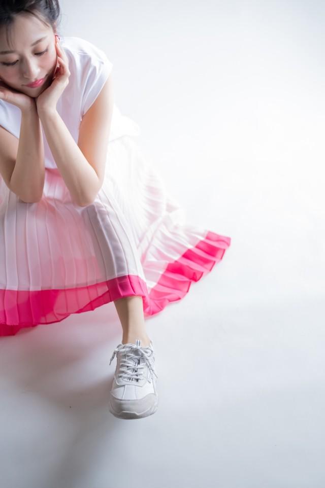 bicolor Shiny pleats sk