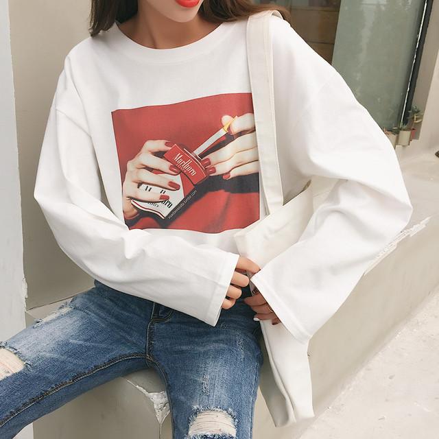 「トップス」簡約・シンプルプリントラウンドネックTシャツ22360496
