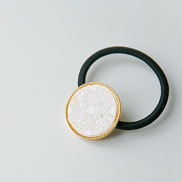 天然貝螺鈿アート・ヘアゴム(鞠)シェル