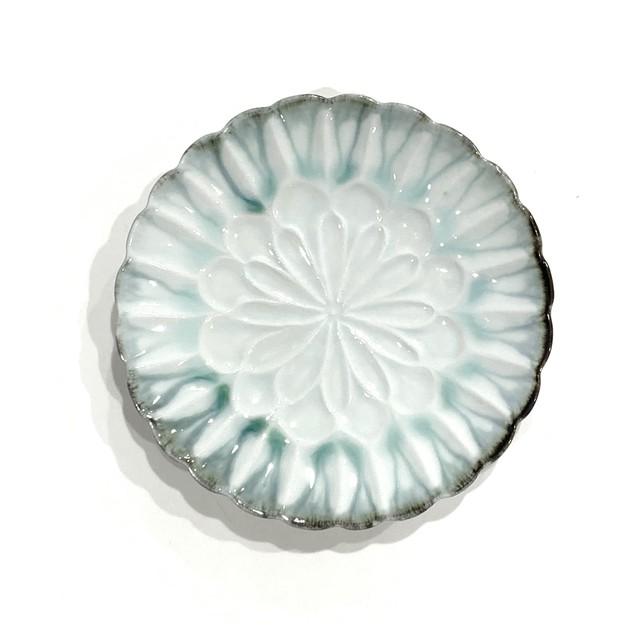 流釉深緑  輪花皿15cm《西隆行》