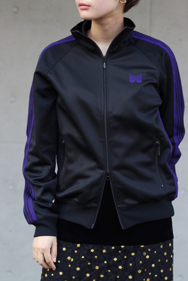 【Needles】track jacket poly smooth-black