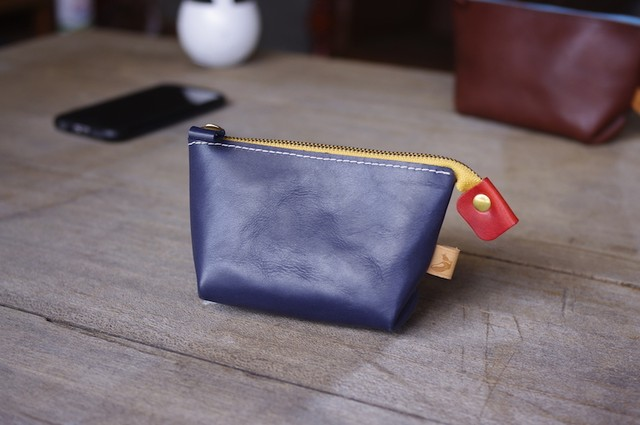 pouch small (NAVY×YELLOW×RED)