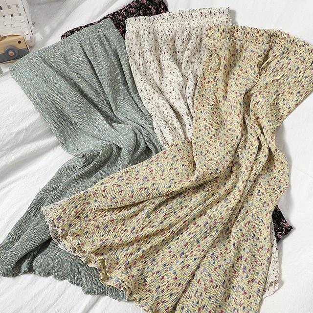 〈カフェシリーズ〉春のお花畑プリーツスカート【spring flower garden pleats skirt】