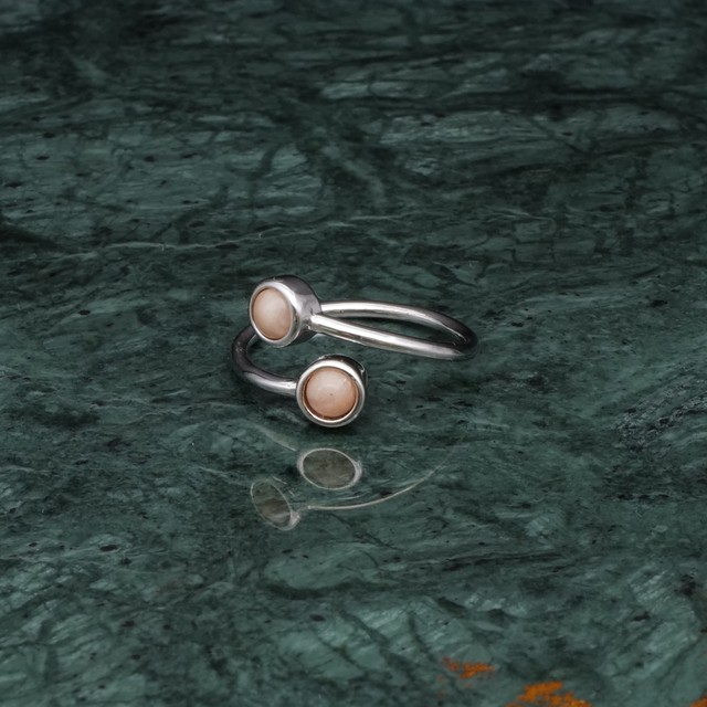 DOUBLE MINI STONE RING SILVER