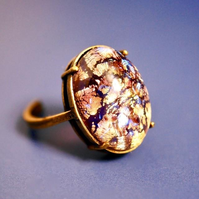 アメジストモザイク ヴィンテージガラスリング(指輪)