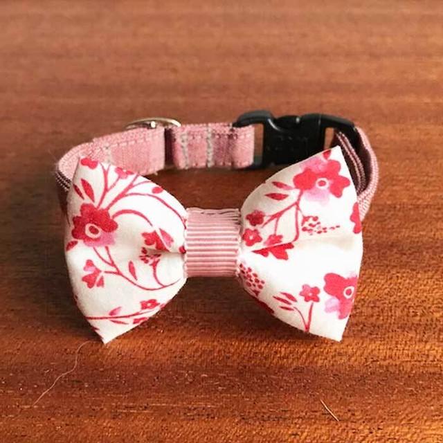 Cat ribbon collar 猫の首輪 リボン首輪 和の花 ホワイトリボン&ピンクベルト 【送料無料】