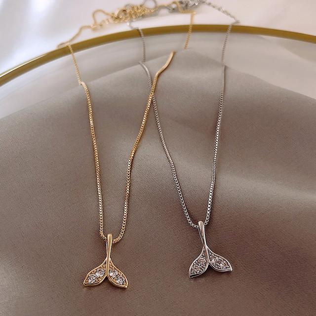 ネックレス フィッシュテール チェーン付き CZ シンプル ペンダント クラビクルチェーン 合金 アクセサリー ジュエリー / Fishtail Necklace Clavicle Chain Jewelry Necklace (DTC-596403997883_617677161626)