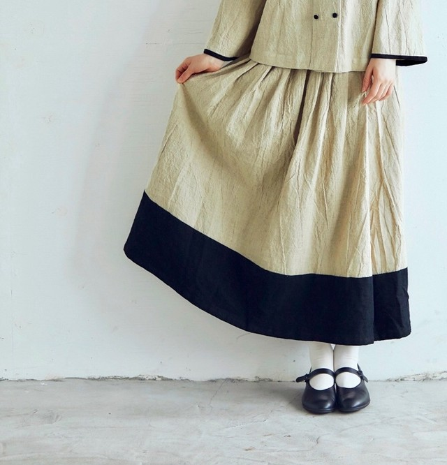 MAGALI   トリプルウォッシュリネン・バイカラースカート/ベージュ