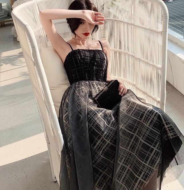即納 ブラック チェック柄チュール マキワンピース  パーティードレス お呼ばれ 発表会 衣装