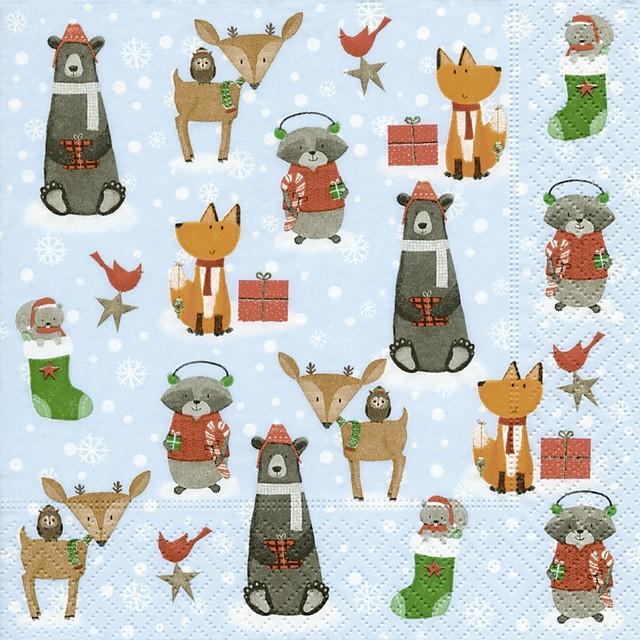 【Paper+Design】バラ売り2枚 ランチサイズ ペーパーナプキン ANIMALS IN THE SNOW ブルー