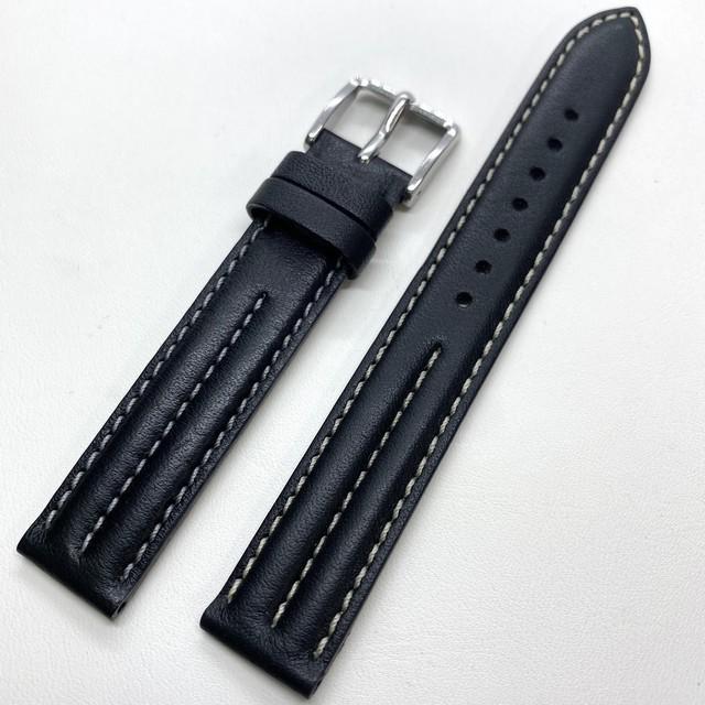 BAMBI マット牛革レザーストラップ ホワイトセンターステッチ ブラック 16mm 腕時計ベルト