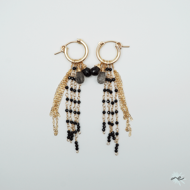 Fringe Hoop Earrings/14KGF