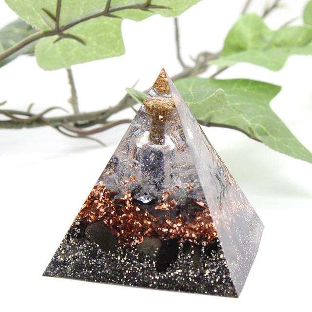 [受注製作] ピラミッド型Ⅱオルゴナイト オブシディアン×テラヘルツ ラピスラズリ小瓶入り