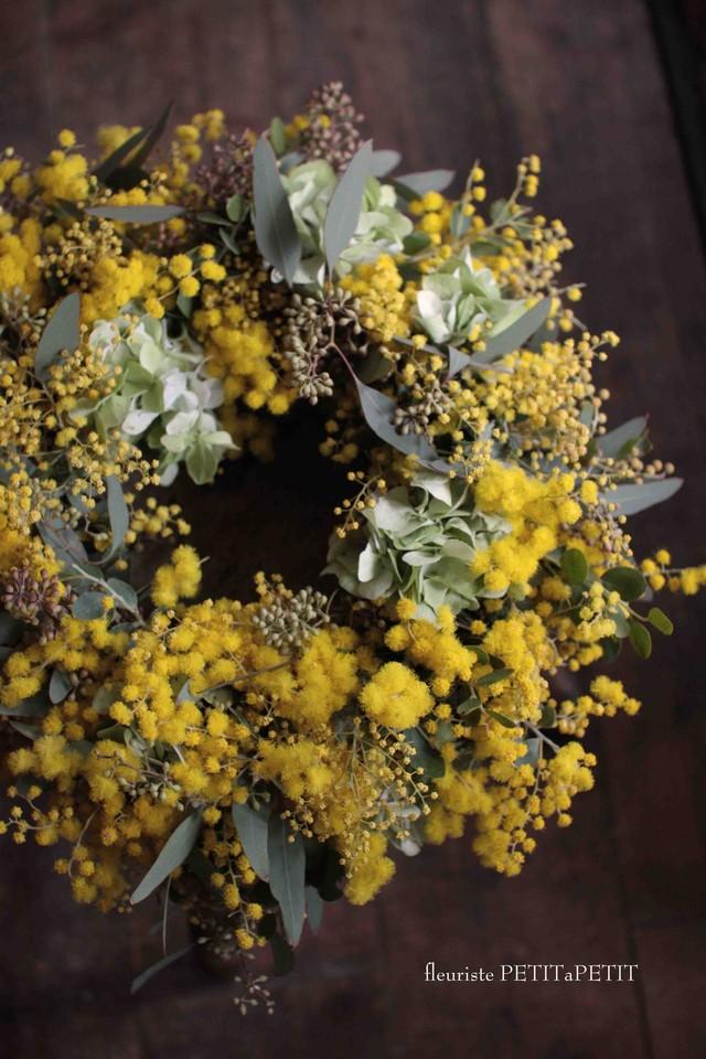 Wreath mimosa et hydrangea(ミモザと紫陽花のリース)