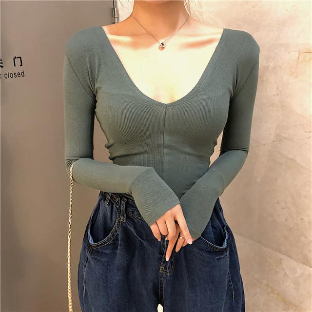 Vネック 長袖Tシャツ 3カラー lt225