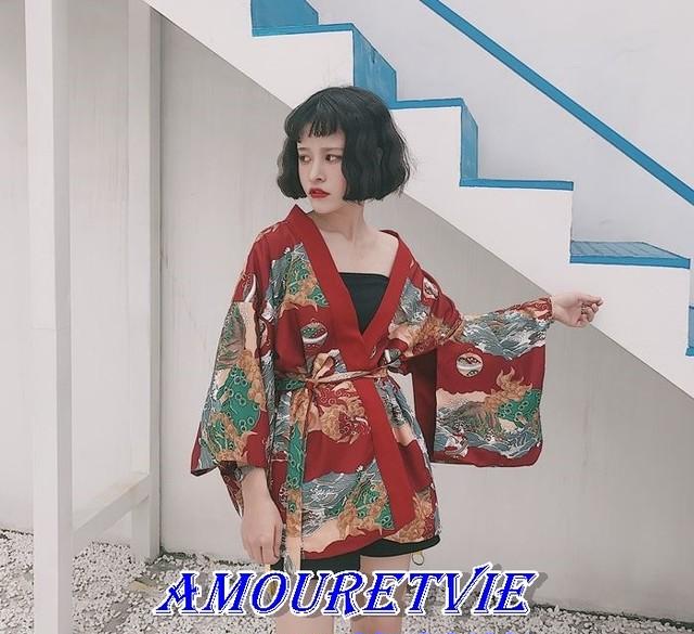 2018 夏 新作 和柄 和風 着物 風 トップス 羽織 帯付き オルチャン 韓国ファッション 86