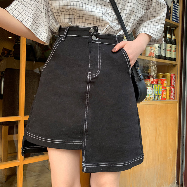 【bottoms】スカート目立つ不規則デザインデニム洗練されたAライン